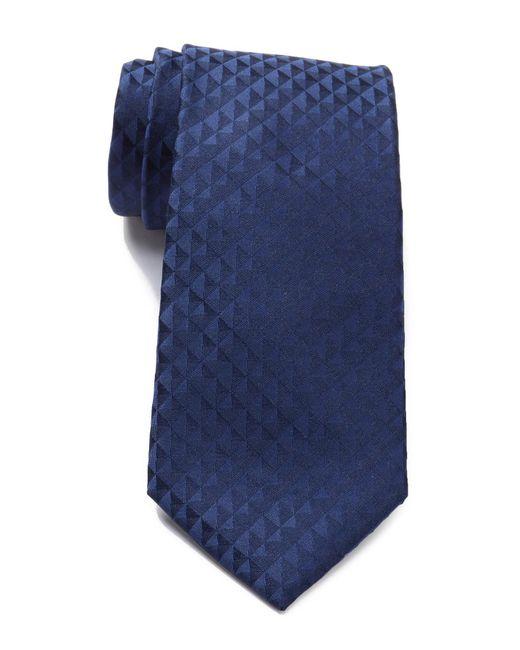 Calvin Klein - Blue Optic Geo Silk Tie for Men - Lyst