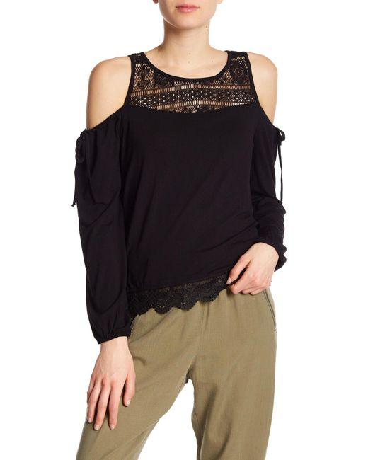 Dex - Black Cold Shoulder Crochet Lace Insert Top - Lyst