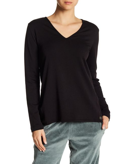 Natori - Black V-neck Brushed Sweater - Lyst
