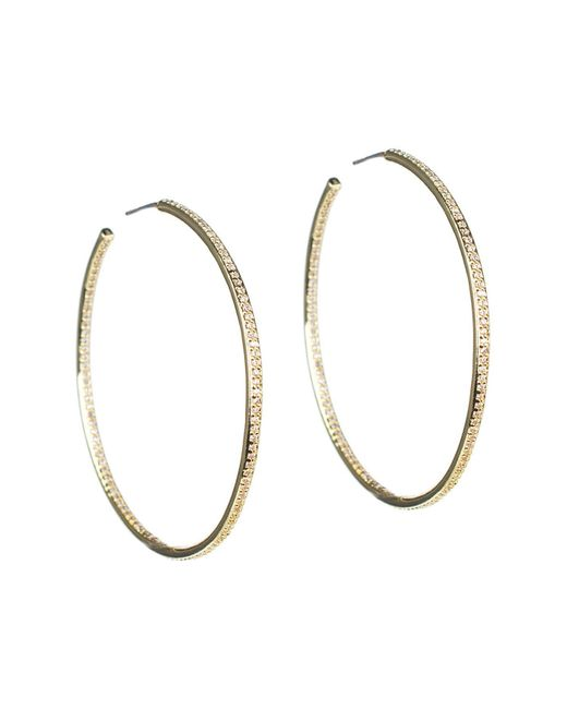 CZ by Kenneth Jay Lane - Metallic 18k Yellow Gold Plated Cz Pave 76mm Hoop Earrings - Lyst