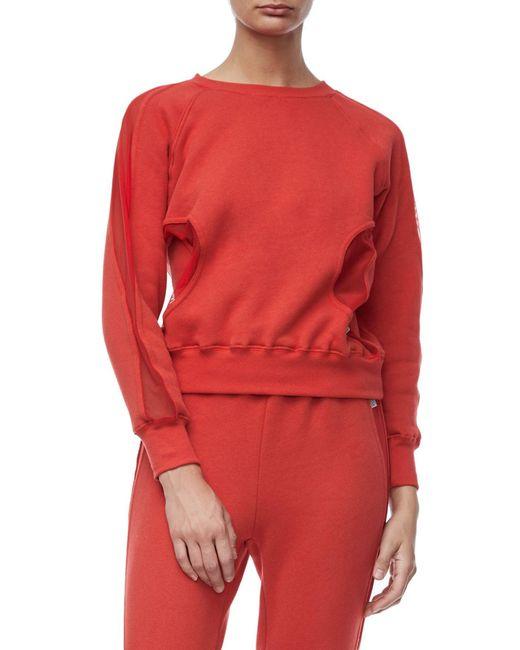 GOOD AMERICAN - Red Good Sweats Mesh Inset Sweatshirt (regular & Plus Size) - Lyst