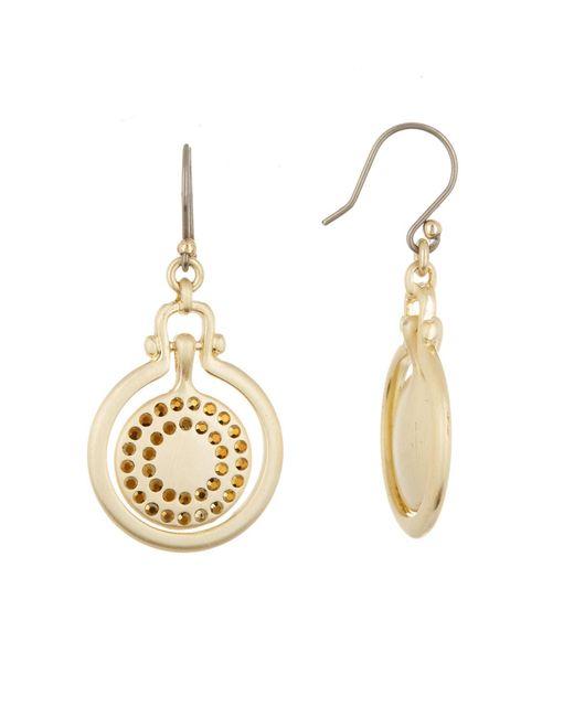 Lucky Brand - Metallic Brushed Pave Orbital Drop Earrings - Lyst