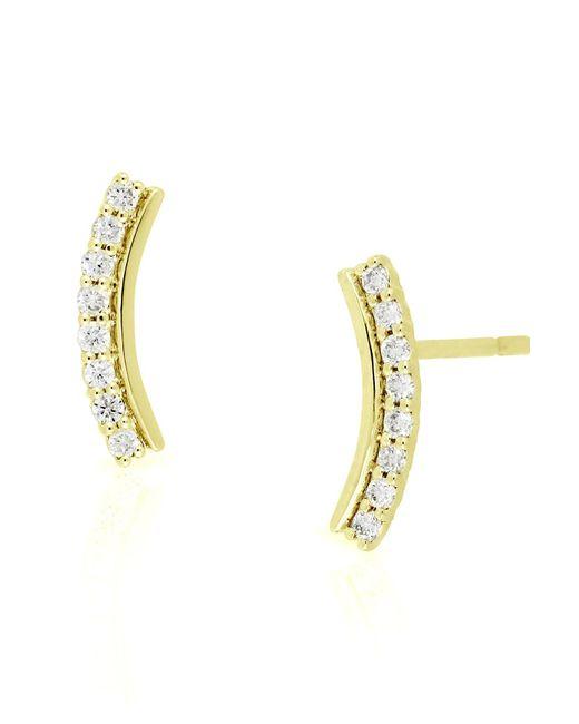 Bony Levy - Metallic 18k Yellow Gold Diamond Curved Crawler Earrings - 0.12 Ctw - Lyst