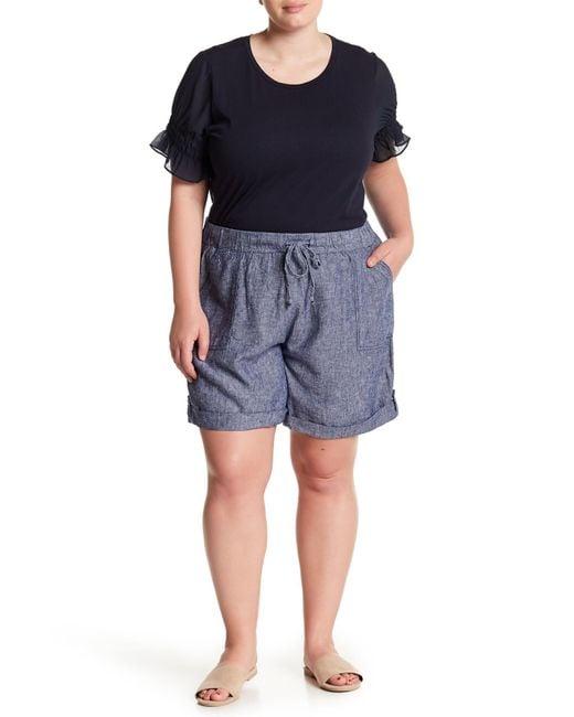 Joe Fresh - Blue Linen Blend Cuff Shorts (plus Size) - Lyst