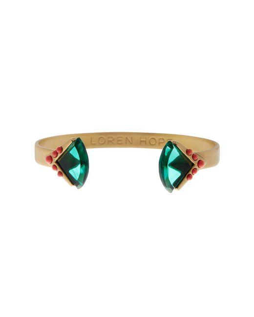 Loren Hope | Green Crown Set Stone & Studded End Cuff Bracelet | Lyst
