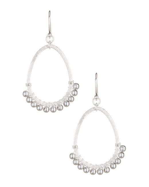 Chan Luu | White Swarovski Imitation Pearl Open Teardrop Earrings | Lyst