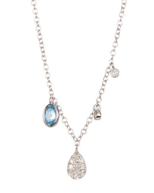 Meira T - Metallic 14k White Gold Blue Crystal & Diamond Detail Charm Necklace - Lyst