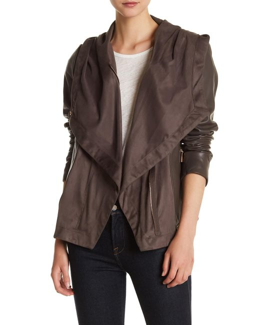 Vince Camuto | Brown Genuine Leather & Suede Hooded Jacket | Lyst