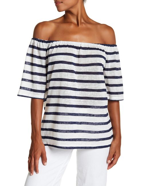 BCBGeneration | Blue Striped Off-the-shoulder Trapeze Tee | Lyst