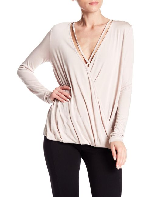 Angie - Pink Surplice Neck Long Sleeve Strappy Top - Lyst