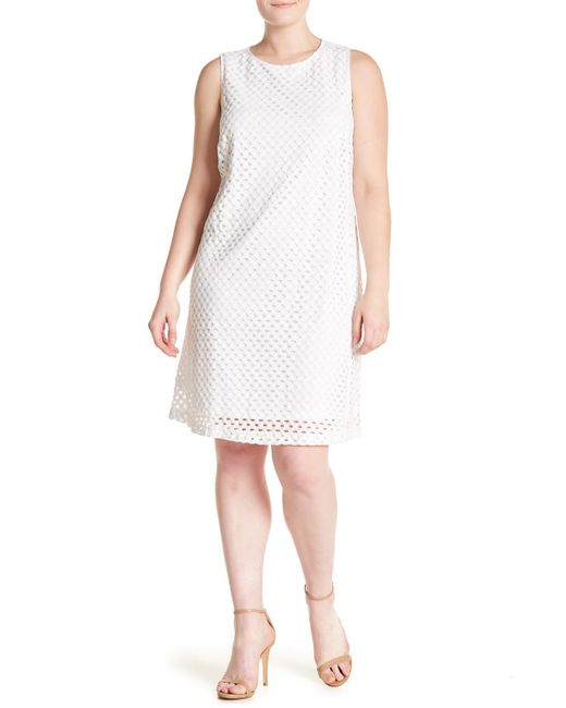 Lyst Sharagano Sleeveless Lace Shift Dress Plus Size In White