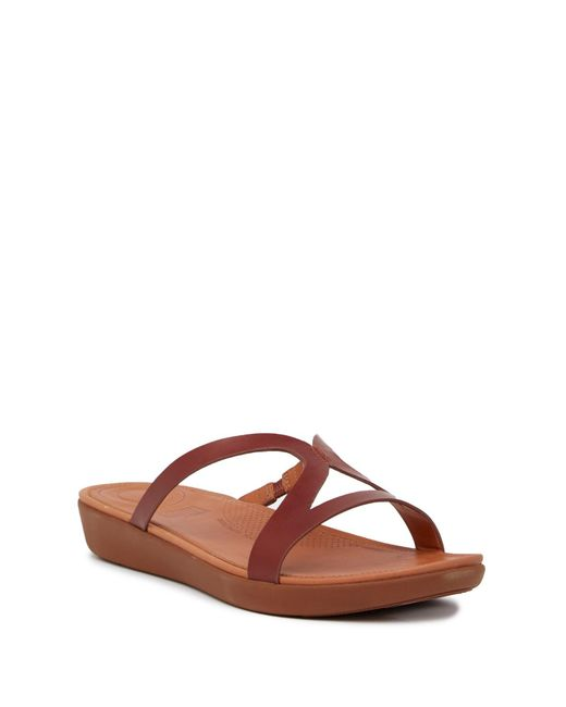 Fitflop - Brown Strata Leather Slide Sandal - Lyst