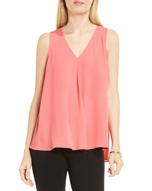 Vince Camuto | Pink Drape Front V-neck Sleeveless Blouse | Lyst