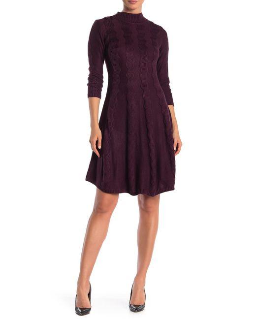 Sandra Darren - Purple Mock Neck Sweater Dress - Lyst