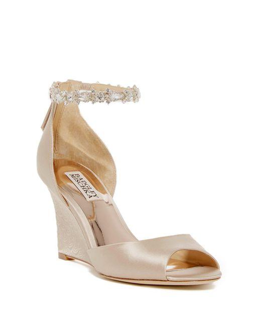 Badgley Mischka - Natural Thalia Crystal Embellished Wedge Heel Sandal - Lyst