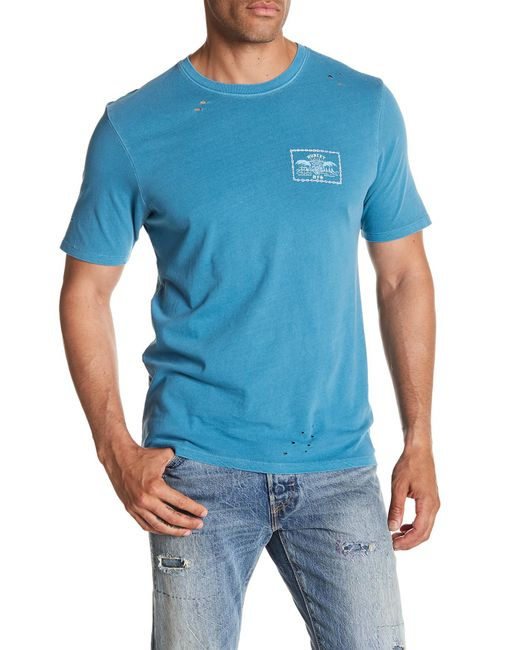 Hurley - Blue Chained Up Distressed Tee for Men - Lyst