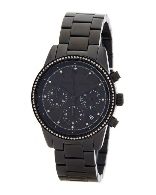 MICHAEL Michael Kors - Black Women's Ritz Crystal Accented Chronograph Bracelet Watch - Lyst