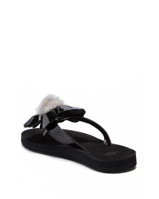 0806e4877f1 ... Ugg - Black Poppy Genuine Shearling Pompom Flip Flop - Lyst ...