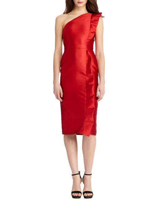Monique Lhuillier - Red One Shoulder Ruffle Detail Midi Dress - Lyst