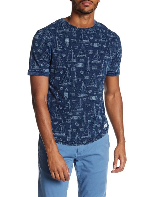 Report collection blueprint print knit tee in blue for men lyst report collection blueprint print knit tee for men lyst malvernweather Gallery
