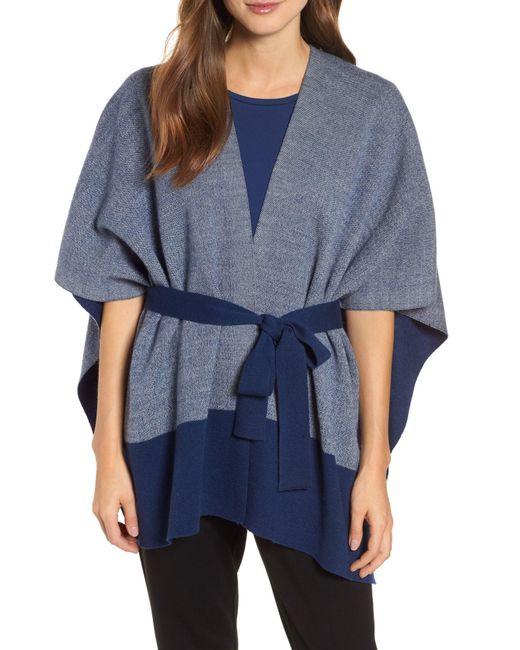 Eileen Fisher - Blue Merino Wool Sweater Poncho (petite) - Lyst