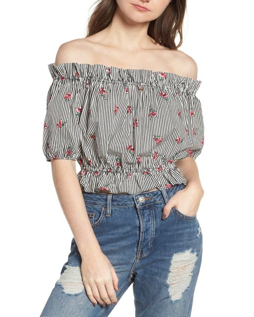 Soprano - Black Floral Stripe Off The Shoulder Crop Top - Lyst