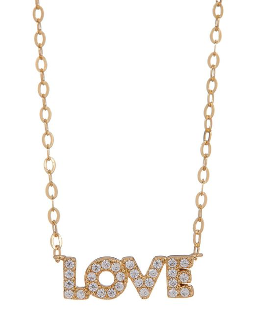 Nadri - Metallic 18k Gold Plated Brass Cz Love Pendant Necklace - Lyst