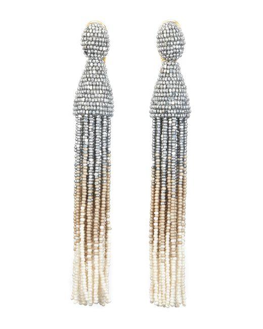 Oscar De La Renta Short Beaded Tassel Clip Earrings in Silver Synthetic Material WaWoy