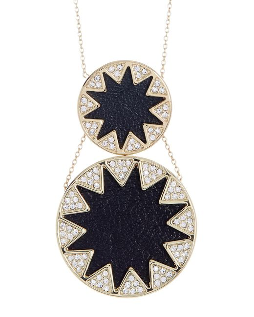 House of Harlow 1960   Metallic Leather & Crystal Sunburst Detail Double Pendant Necklace   Lyst