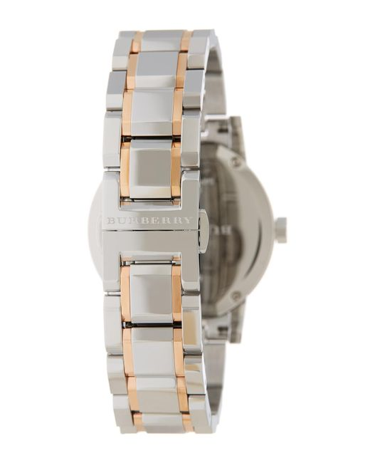 Burberry Metallic Women S Check Stamp Bracelet Watch Medium Stamped 34mm Nordstrom