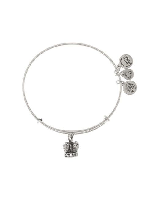 ALEX AND ANI | Metallic Crystal Detail King Crown Pendant Expandable Wire Bangle | Lyst