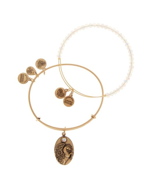 ALEX AND ANI   White Moonlight Beaded Pegasus Wire Bracelets - Set Of 2   Lyst