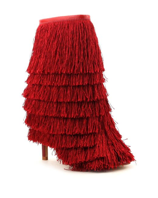 Cape Robbin   Red Alza Fringe Booties   Lyst