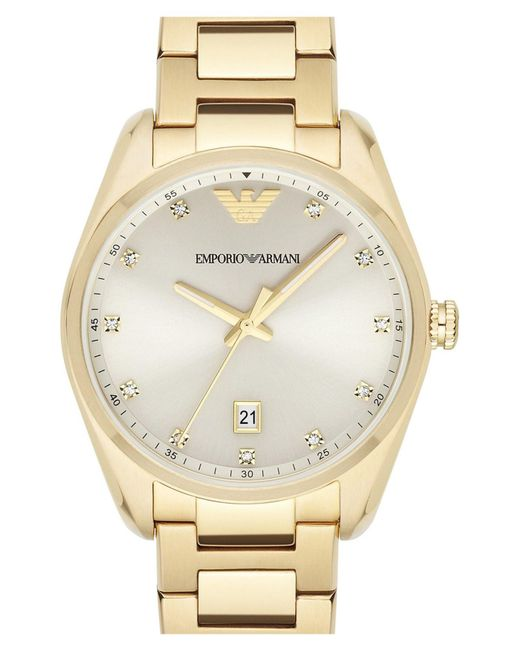 Emporio Armani | Metallic Crystal Index Bracelet Watch | Lyst
