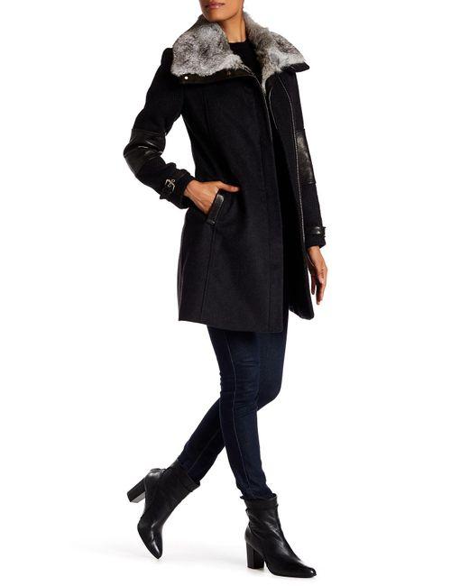 Andrew Marc | Black Mara Genuine Rabbit Fur Collar Wool Blend Coat | Lyst