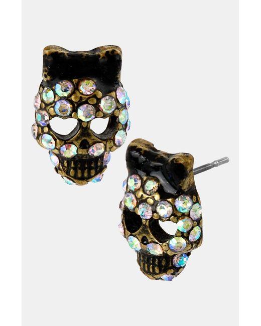 Betsey Johnson | Black Skull Stud Earrings | Lyst