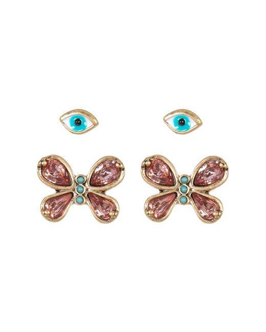 Betsey Johnson | White Butterfly & Eye Duo Earrings - Set Of 2 | Lyst