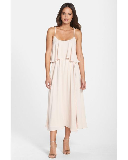 Paper Crown | Pink By Lauren Conrad 'britton' Ruffled Tea Length Crepe Dress | Lyst