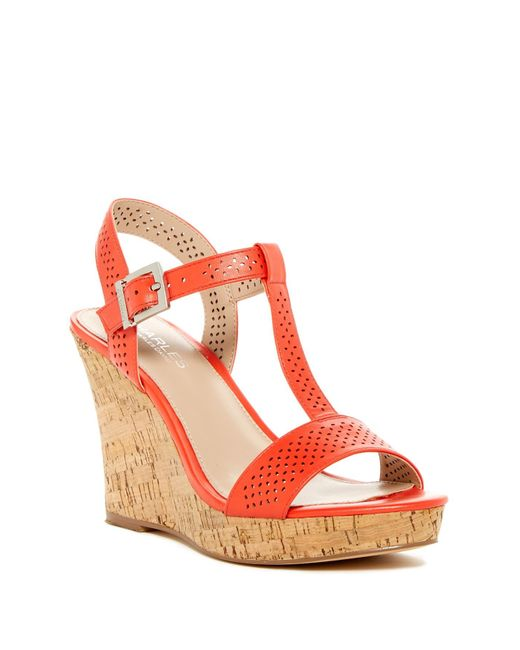 Charles by Charles David   Red Law Wedge Sandal   Lyst