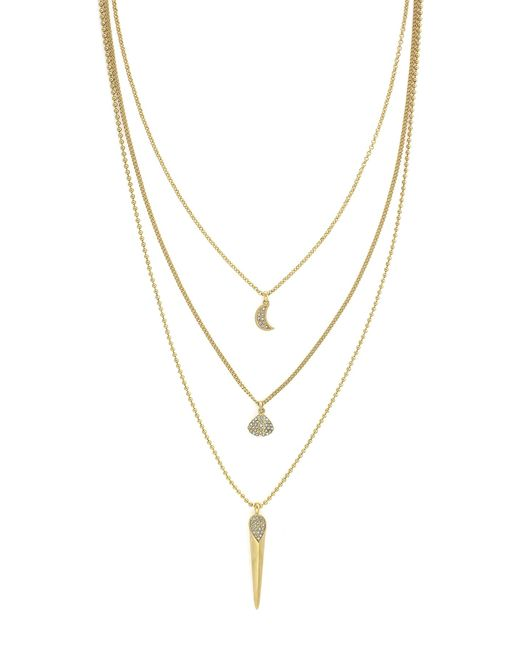 Cole Haan | Metallic 12k Gold Plated Triple Layer Pave Necklace | Lyst
