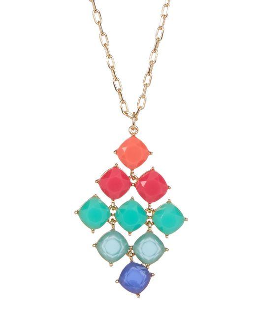 Carolee   Metallic 12k Gold Stone Kite Pendant Necklace   Lyst