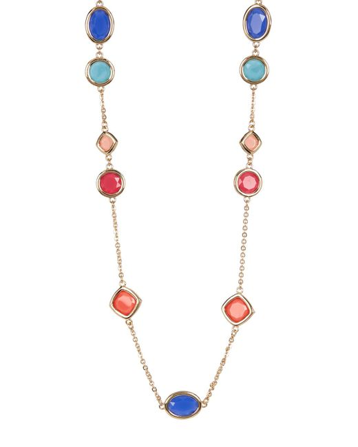 Carolee   Metallic 12k Gold Multi-color Stone Station Necklace   Lyst