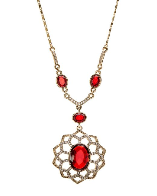 Carolee | Metallic Pave Openwork Flower Pendant Necklace | Lyst