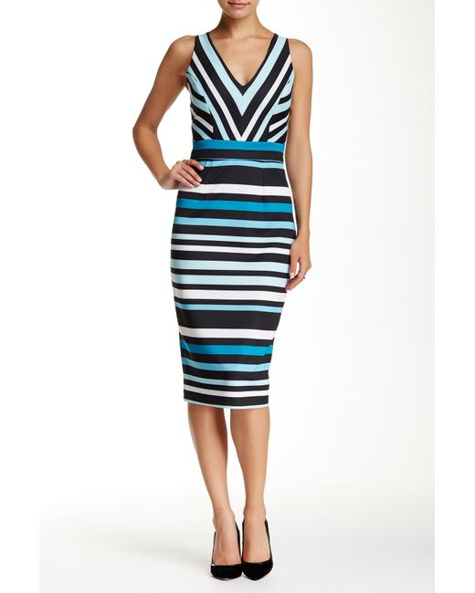 Alexia Admor V Neck Striped Dress In Blue Aqua Multi