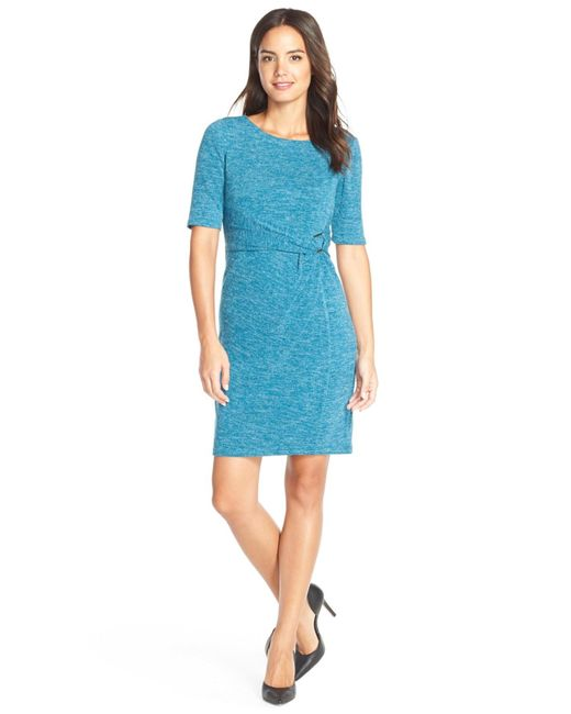 Ellen Tracy | Blue Heathered Knit Sheath Dress | Lyst