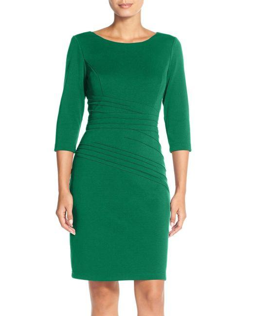 Ellen Tracy | Green Seamed Ponte Sheath Dress | Lyst