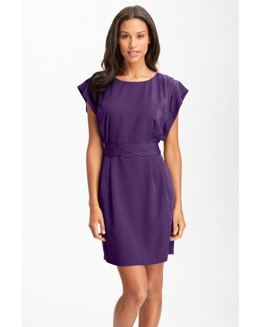 Eliza J   Purple Drape Sleeve Sash Belt Dress   Lyst