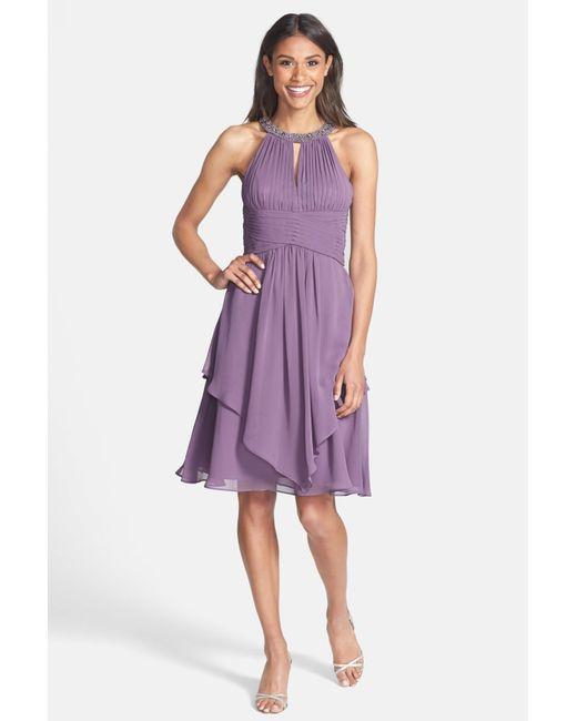 Eliza J | Purple Embellished Neck Layered Chiffon Fit & Flare Dress | Lyst