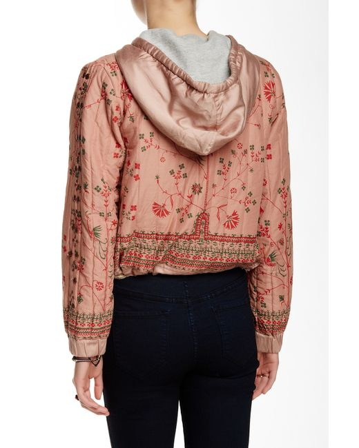 Free People Quilted Print Jacket In Pink Cotncandy
