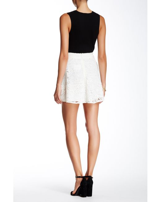 the kooples genuine leather trim lace skater skirt in